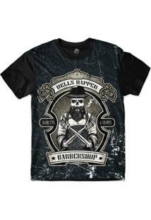 Camiseta Bsc Barbeiro Caveira Sublimada Masculina - Masculino-Marinho