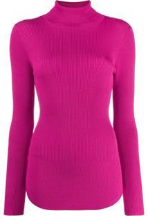 Pinko Suéter Canelado Com Gola Alta - Rosa