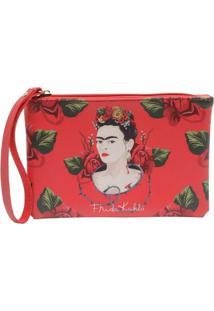 Carteira Frida Kahlo Face And Red Roses Fundo Vermelho 18 X 12 Cm
