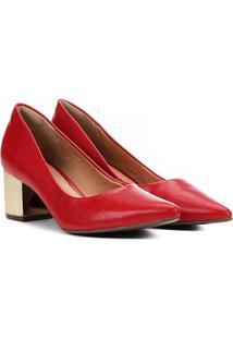 Scarpin Via Uno Salto Baixo Bico Fino Metalizado - Feminino-Vermelho