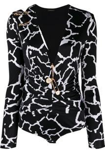 Versace Body Decote Em V Com Estampa Gráfica - Preto