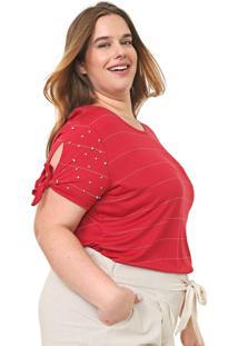 Blusa Cativa Plus Listrada Amarração Vermelha/Branca