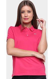 Camisa Polo Tommy Jeans Classics Feminina - Feminino-Rosa Escuro