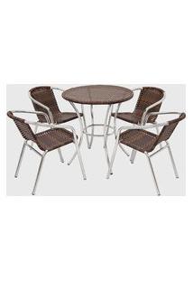 Conjunto Em Fibra Sintética E Alumínio C/ Mesa E 04 Cadeiras Castanho Pressa Móveis