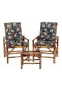 Conjunto Mesa E 2 Cadeiras De Bambu Cancun Para Área Edicula Jardim G08