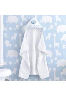 Toalha Banho Bebê Com Capuz Branco Leão Azul Grão De Gente Azul