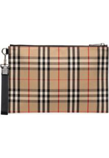 Burberry Checked Cotton Pouch Bag - Neutro