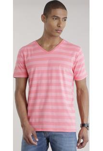 Camiseta Listrada Rosa