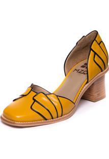 Sapato Feminino Em Couro Pelica - Amarelo/ Preto - 9304