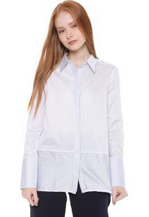 Camisa Calvin Klein Reta Listrada Branca