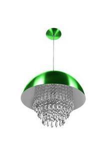 Lustre Pendente Meia Lua 40Cm Verde Metalico Cristal Acrilic