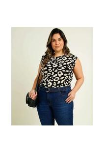 Blusa Regata Plus Size Feminina Animal Print