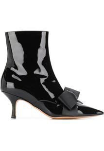 Rochas Bow Detail Ankle Boots - Preto