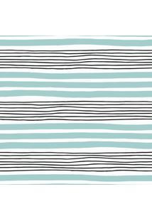 Papel De Parede Azul E Preto Listras Irregulares 57X270Cm