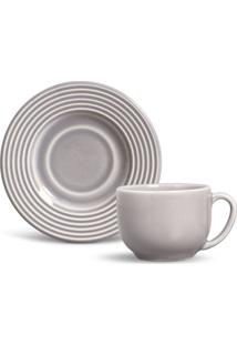 Xícara De Chá Argos Cerâmica 6 Peças Cinza Porto Brasil