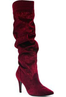 Bota Montaria Zariff Shoes Salto Alto Bordado Feminina - Feminino-Vermelho