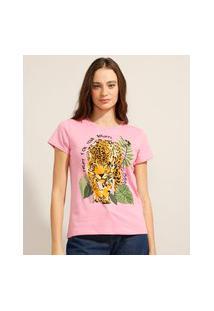 Camiseta De Algodão Onça Manga Curta Decote Redondo Rosa