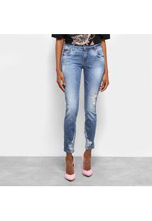 Calça Jeans Skinny Colcci Estonada Rasgos Cintura Média Feminina - Feminino-Azul