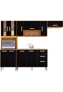 Cozinha Compacta C/ Balcão Lavinia-Poquema - Damasco / Preto