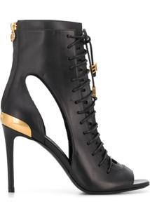 Balmain Ankle Boot Com Cadarço - Preto