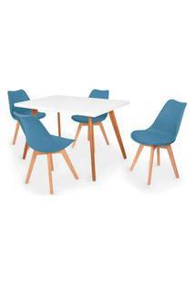 Conjunto Mesa De Jantar Gih 120X80Cm Branca Com 4 Cadeiras Leda - Turquesa