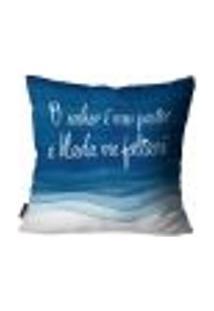 Capa Para Almofada Premium Cetim Mdecore Frase Azul 45X45Cm