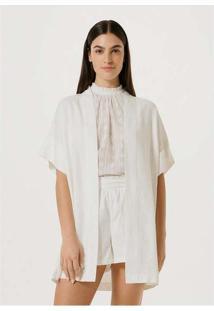 Casaco Kimono Creponado Com Linho Off-White