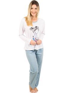 Pijama Bella Fiore Modas Longo Fran Azul Claro