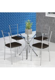 Conjunto De Mesa De Cozinha Com Tampo De Vidro Gia Ii E 4 Cadeiras Cacau