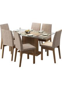 Sala De Jantar Madesa Melissa Mesa Tampo De Vidro Com 6 Cadeiras