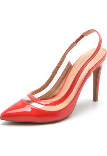 Scarpin Dafiti Shoes Recorte Vermelho