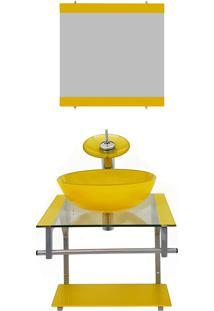 Gabinete De Vidro 40Cm Para Banheiro Croácia Amarelo Ekasa