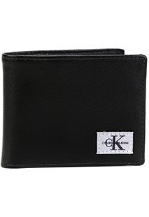 Carteira Couro Calvin Klein Porta Cartão Masculina - Masculino-Preto