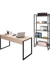 Conjunto Escritório Mesa 150 E Estante Studio Industrial M18 Carvalho