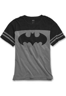 Camiseta Bandup Bicolor Athletic Batman Logo Classic - Masculino-Chumbo