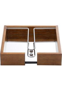 Porta Guardanapo Em Madeira Com Espelho E Aramado 20X4,5Cm