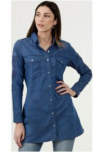 Camisa Feminina Jeans Manga Longa Disparate