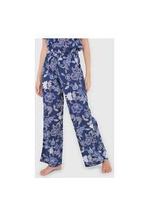 Calça Gap Pantalona Floral Azul-Marinho
