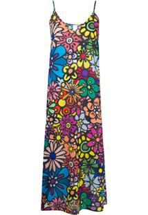 Ultràchic Vestido Gola V Com Estampa Floral - Azul