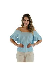 Blusa Mamorena Ombro Vazado Alcinha Azul