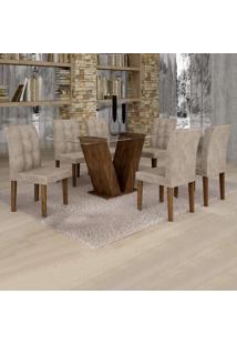 Conjunto Sala De Jantar Mesa Classic Tampo De Vidro 6 Cadeiras Vitória Cel Móveis Chocolate/Pena 84