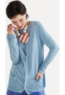 Cardigan Basico Bolso Frente Eva - Feminino-Azul Claro