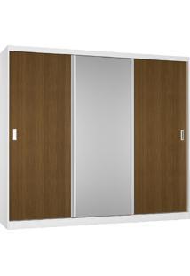 Guarda-Roupa Casal 3 Portas Com 1 Espelho 100% Mdf 5393E1 Branco/Imbuia - Foscarini