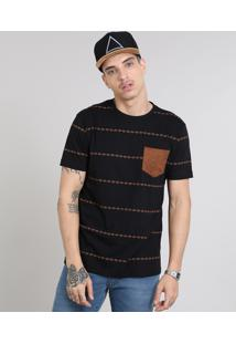 Camiseta Masculina Estampada Étnica Com Bolso Gola Careca Manga Curta Preta
