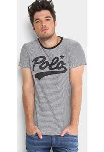 Camiseta Listrada Polo Rg 518 Manga Curta Masculina - Masculino-Branco