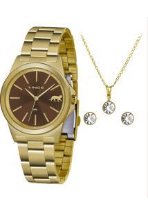 Kit Relógio Analógico Lince Feminino + Colar Com Brincos - Lrgh125L Kx25N1Kx Dourado