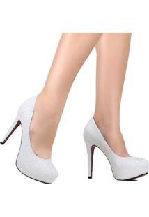 Scarpin Zariff Salto Alto De Noivas - Feminino-Branco