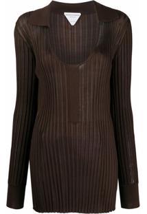 Bottega Veneta Blusa De Tricô Canelado - Marrom