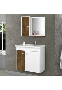 Conjunto Para Banheiro Munique Branco/Madeira Rústica - Móveis Bechara