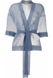Altea Cardigan Translúcido Com Cinto - Azul